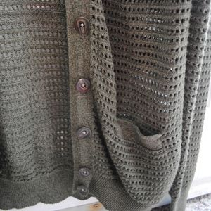 Fossil Sweaters - Fossil Forest Green Open Knit Cardigan